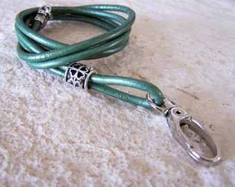 Leather Lanyard, Teal Color Lanyard, 26-36 inchs, Women Lanyard, Id Lanyard, Badge Holder,  3mm Leather Cord, Eyeglass Lanyard, Id Holder