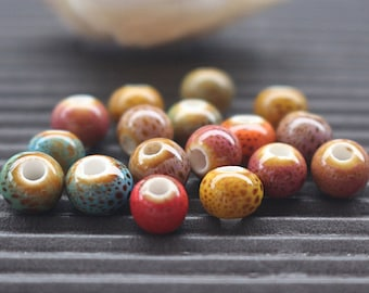6-10mm Colorful Ceramic Round Beads, Hole 2 mm, 50pcs ( 6 mm 8mm 10mm )