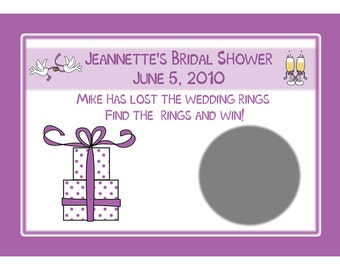 24 Personalized Bridal Shower Scratch Off Game Cards - Purple Gift Design