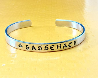 Sassenach - Celtic Jewelry Aluminum Cuff Bracelet - Outlander Inspired - Gift Under 20