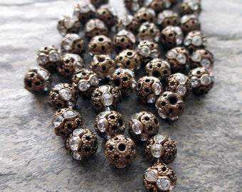 6 mm antiqued bronze filigree clear rhinestone bead vintage style, lot of 10 pcs