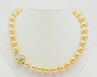 12mm - 14mm Certified South Sea Golden Pearl Strand Necklace 1.00 Carat Diamond Necklace 18K Gold