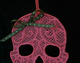 Cute Lace Girly Skull With Bow Ornament