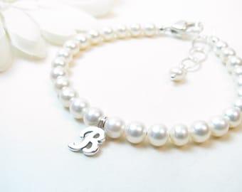 Adult Personalized Freshwater Pearl Bracelet - Real Pearl Bracelet - Pearl Initial Bracelet - Monogram Pearl Bracelet - Bridesmaid Gift