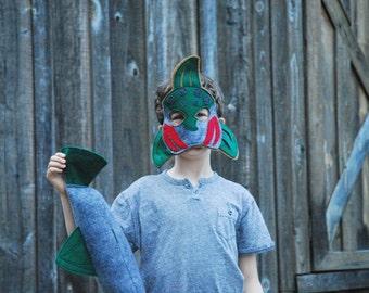 Coho Salmon Fish Costume - Mask, Tail, Mask & Tail Combo Pack