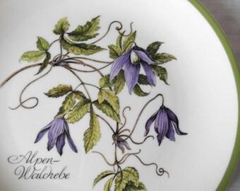 "Kaiser plate / Alpenwaldrebe / series ""Botanica"" / W. Germany / vintage / 1970"