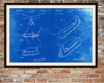 Blueprint Art of Piasecki Tandem Helicopter Technical Drawings Engineering Drawings Patent Blue Print Art Item 0061