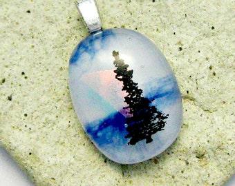 Fused Dichroic Glass Pendant - Tree of Life Pendant