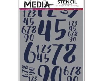 """Dina Wakley Stencil - JUMBLED NUMBERS - 6"""" x 9"""""""