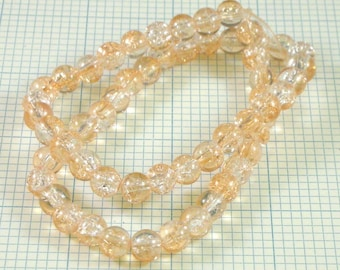 8mm Crackle Glass Beads - Champagne/Crystal