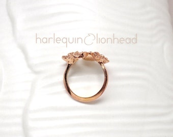Rose Adjustable Ring, 14K rose gold plated, handmade in NY - 20% off spring sale, ready to ship. Gold plated and sterling silver available.