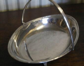antique silver plate bowl basket