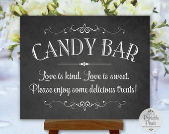 Candy Bar Chalkboard Printable Wedding Sign, Party Sign, Love Is Kind, Love Is Sweet (#CB11C)