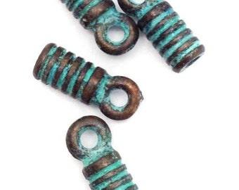 Lederendkappen, green patina, for 2mm leather strap, 4