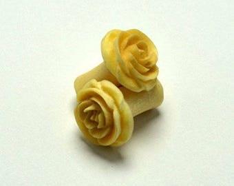 Rose Flower Ear Gauge Plugs (2g) - Crocodile Wood