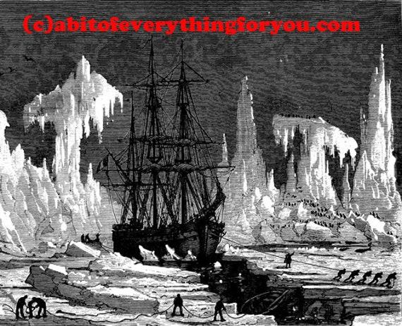 icebergs sailing ship frozen ocean printable art  print snow landscape png Digital Download Image graphics alaska seascape downloadable