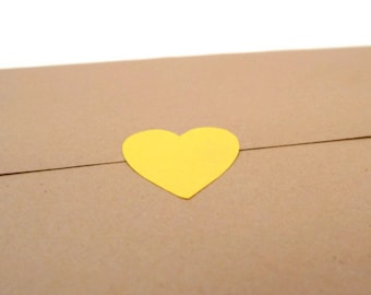 120 count - Heart Stickers - Blank Label - Yellow Sticker - Wedding Favor Sticker -  Envelope Seal - 0.75 inch