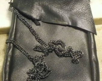 Black Leather Conceal Carry Purse/  cross body cell phone bag/ cross body cell phone purse/ Bison leather bag