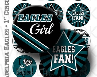 50% Off Sale - Eagles Football Team Bottlecap Images - 4 x 6 Digital Collage Sheet  - 1 inch Round Circles - INSTANT DOWNLOAD