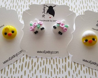 Studded Polymer Earrings - Easter Bunny and Chicks