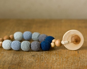 Nursing Necklace with Pendant  - Navy Blue&Gray Gradient, Juniper Wood - Teething Necklace, New Mom Necklace Gift - NG09