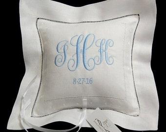 Personalized ring bearer pillow Monogram ring pillow Irish Linen Bridal ring pillow Wedding ring pillow jfyBride Style 6142