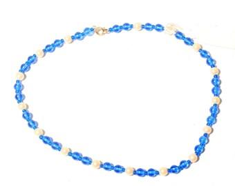 Vintage necklace Czech blue faux pearl glass beads