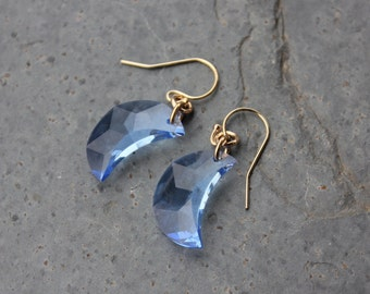 Light sapphire blue crystal crescent moon earrings- 14k gold filled earwires - Swarovski crystal moons - free shipping in USA