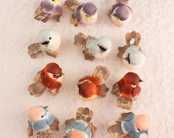 NEW ITEM! Woodland Mini Mushroom Birds 12 Assorted Artificial Birds / 1.5 Inches / Baby Shower / Wedding / Bridal / Cake Toppers