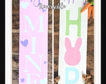 Reversible holiday sign, reversible porch sign, Valentines Day sign, Easter porch sign, hippity hop sign