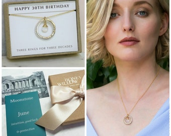 30th birthday gift, June birthstone necklace 30th, moonstone necklace for 30th birthday, daughter, girlfriend - Lilia