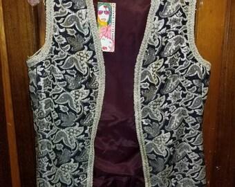 BROCADE VEST // 70's Vintage Metallic Silver Gun Metal Gray Vest New Years