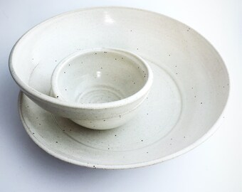 Handmade Swirling Chip n Dip // Pottery Bowl in Speckled White
