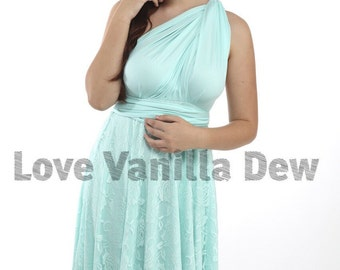 Bridesmaid Dress Infinity Dress Petal Green Lace Knee Length Wrap Convertible Dress Wedding Dress