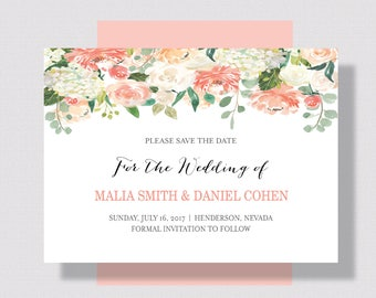 Save the Date Card Peach and Cream Floral Watercolor   Wedding Save the Date Peach Floral   Printable or Printed Spring Summer Save the Date