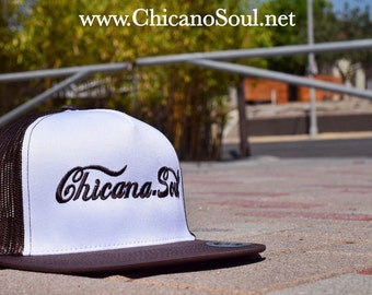 Chicana Soul Brown/White trucker cap w/ Embroidered classic logo