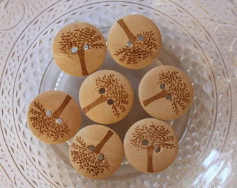 button wood clear engraved tree