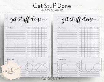 Get Stuff Done, Happy Planner, Task Tracker, MAMBI, Weekly Checklist, Task Organizer, Printable Planner, Habit Tracker, Task Printable