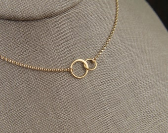 Tiny gold entwined rings necklace, linked circles, gold circles, simple gold necklace, interlocking circles, infinity, mother's day