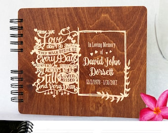 Funeral Guest Book Personalized Wooden Memorial Guestbook Black Wood Celebration of Life Guest Book  Remembrance In Loving Memory