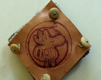 PIN print etching on leather - unique Piece