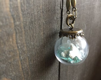 Turquoise and Mica Glass Terrarium Necklace