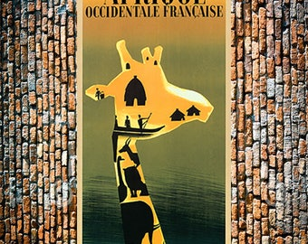 Giraffe Afrique Vintage Art, Animal Art, Vintage Travel Ad,Africa Travel Ad,Giraffe Art, Vintage Ad, Giclee Art Print, Fine Art Reproduction