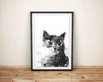 Cat Print, Cat Art, Black Cat, Black and White Print, Black and White Print Art, Black Home Decor, Animal Art, Splatter Ink, Wall Art Print