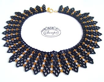 Victorian necklace, statement necklace, black necklace, lace necklace, seed bead jewelry, woven necklace, bib necklace, collar necklace, RBG