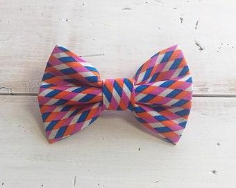 Pink Orange Blue White Harlequin Dog Bow Tie