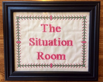 PATTERN Funny Cross Stitch The Situation Room Baby Decor PDF Instant Download
