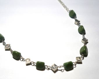 Serpentine and Silver Necklace