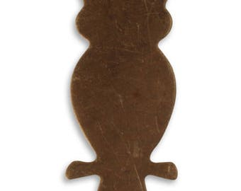 DESTASH SALE: Vintaj Natural Brass Perched Owl Altered Blank - set of 12, Steampunk Jewelry Supplies, Vintaj Blank Owl 42x20mm