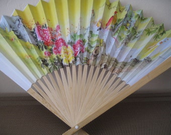 Pretty Yellow Hand Fan With Flowers and Rooster Design